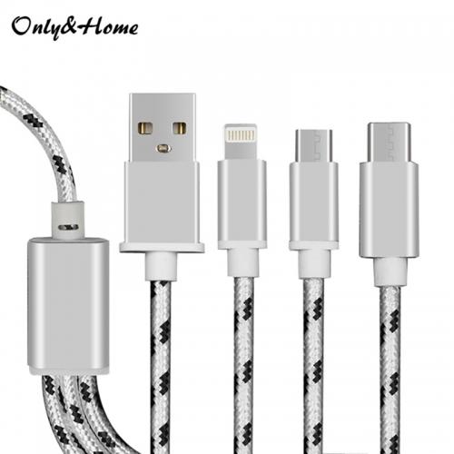 Only&Home 移动电源专用一拖三编织数据线-KL-YTS03